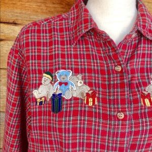 Vintage Plaid Flannel Christmas Teddy Bear Shirt